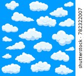 clouds set isolated on blue... | Shutterstock .eps vector #782322007
