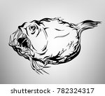 tatoo fish  drawing ink white... | Shutterstock .eps vector #782324317