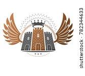 ancient fortress emblem.... | Shutterstock . vector #782344633