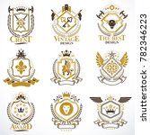 heraldic signs decorated with... | Shutterstock . vector #782346223