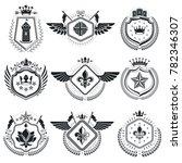heraldic signs vintage elements.... | Shutterstock . vector #782346307