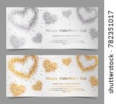 vector cards with gold and... | Shutterstock .eps vector #782351017