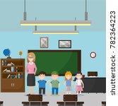 school classroom design   Shutterstock .eps vector #782364223