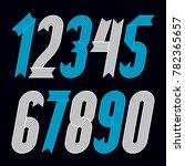 set of cool geometric digits ... | Shutterstock . vector #782365657