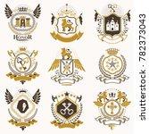 collection of heraldic... | Shutterstock . vector #782373043