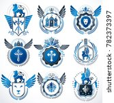 collection of heraldic... | Shutterstock . vector #782373397