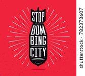 stop bombing city silhouette