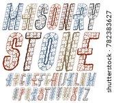 trendy ancient capital english...   Shutterstock . vector #782383627