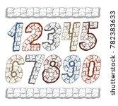 set of stylish digits  modern... | Shutterstock . vector #782383633