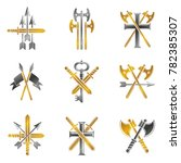 vintage weapon emblems set.... | Shutterstock . vector #782385307