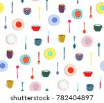 colorful plates dishes seamless ... | Shutterstock .eps vector #782404897