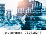 double exposure businessman and ... | Shutterstock . vector #782418247