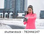 winter running smartwatch... | Shutterstock . vector #782446147