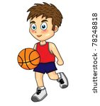 cute boy dribbling basketball | Shutterstock .eps vector #78248818
