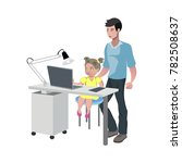 father watching girl doing... | Shutterstock .eps vector #782508637