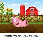 cartoon pig playing a mud... | Shutterstock .eps vector #782548303