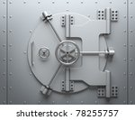 Bank vault closed. Computer generated image - stock photo