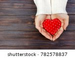 red heart in hands closeup on... | Shutterstock . vector #782578837