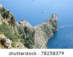 Cliff on Alanya coastline - stock photo