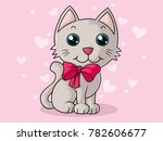 cute comic cat with ribbon | Shutterstock .eps vector #782606677