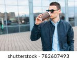 the guy in stylish sunglasses ... | Shutterstock . vector #782607493
