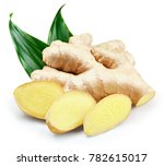 Ginger With Leaves Isolated On...