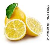 lemon fruit slice with leaf... | Shutterstock . vector #782615023