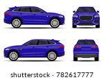 blue car. front view  side view ... | Shutterstock .eps vector #782617777