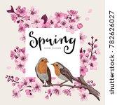 spring. pink cherry blossom... | Shutterstock .eps vector #782626027