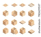 set of isometric wooden boxes... | Shutterstock . vector #782629537
