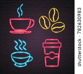 coffee signs set. neon light... | Shutterstock .eps vector #782630983