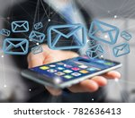 view of a blue email symbol... | Shutterstock . vector #782636413
