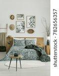 vase on wooden stool in bright...   Shutterstock . vector #782656357