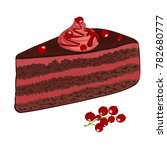 chocolate cake with red... | Shutterstock .eps vector #782680777