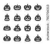carving face halloween pumpkin... | Shutterstock . vector #782706313