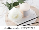 beautiful white rose with a... | Shutterstock . vector #782795227