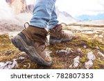 hiking boots close up. tourist... | Shutterstock . vector #782807353