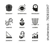 science icons set. genetics and ... | Shutterstock . vector #782810347