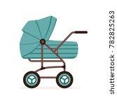blue baby pram or stroller ... | Shutterstock .eps vector #782825263