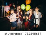 group of happy friends going on ... | Shutterstock . vector #782845657