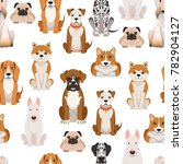 different dogs in cartoon style.... | Shutterstock . vector #782904127