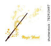magic wand with stars on white...   Shutterstock . vector #782915497