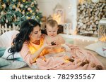 happy boy with mather near... | Shutterstock . vector #782935567