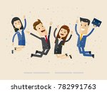 businessmans and womans jump... | Shutterstock .eps vector #782991763