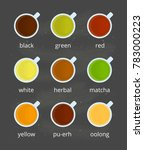 different kinds of tea in cups... | Shutterstock .eps vector #783000223