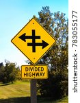 closeup of a divided highway