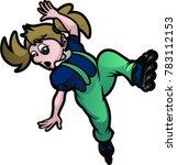 girl falling on roller blades | Shutterstock .eps vector #783112153