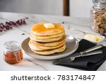 fluffy pancake with butter and... | Shutterstock . vector #783174847