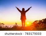 silhouette of woman arms up... | Shutterstock . vector #783175033