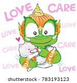 feedding milk to cat or kitten... | Shutterstock .eps vector #783193123